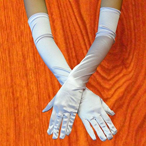 [Moondon Opera Elbow Length Satin Gloves Costume Full Fingered -fast ship -white color] (Milk Eggs Cheese Costume)