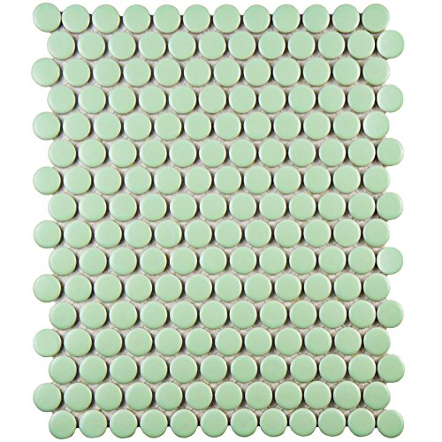 SomerTile FXLMPMG Retro Penni Porcelain Floor and Wall Tile, 9.875