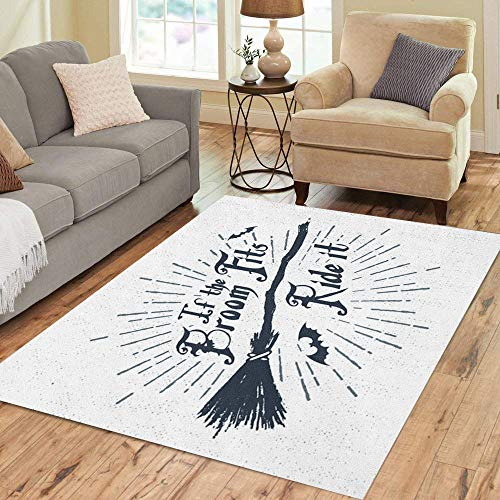 Semtomn Area Rug 2' X 3' Halloween Label Witch Broom and If The Fits Ride Home Decor Collection Floor Rugs Carpet for Living Room Bedroom Dining Room
