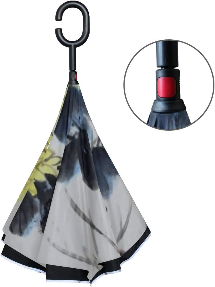 Double Layer Inverted Inverted Umbrella Is Light And Sturdy Classical Chinachrysanthemum Chinese Painting Reverse Umbrella And Windproof Umbrella Edg