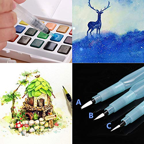 Gotian 3Pcs Refillable Pilot Water Brush Ink Pen for Painting Watercolor Drawing Pen Pencil ()