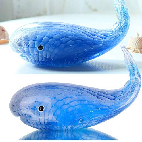 Qf Glass Whale-Blown Glass Sea Animal Handmade Artwork, Birthday Gift, Home Decor Paper Weight ()