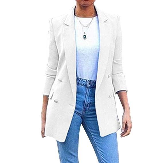Decha Blazer Femme Élégant Slim Fit Veste de Costume Tailleur Jacket Loisir Coat Formel Manteau Casual Outwear Cardigan Blouson Mode Mariage Affaire