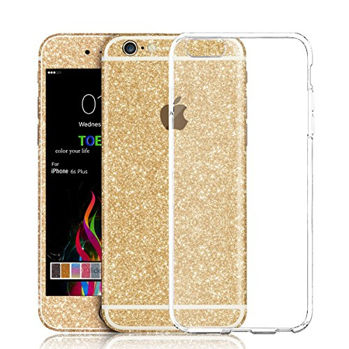 Toeoe Full Body Bling Crystal Diamond Shinning Screen Protector Film Sticker for Iphone 6 Plus/6s Plus (Champagne) (Skin 6 Plus Iphone Glitter)