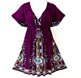 Red Dot Boutique 119 - Plus Size Dashiki Printed Babydoll Cover-up Vacation Dress (3X, Purple)