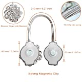 Sumnacon® 2 Packs Crystal Curtain Magnetic Tieback Flower Curtain Clips Buckle with Stretchy Wire Rope for Home Office Decoration