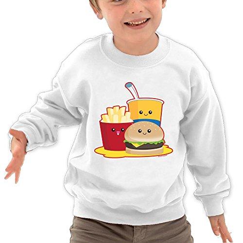 Puppylol Cute Fast Food Kids Classic Crew-Neck Pullover Sweatshirt White 3 Toddler