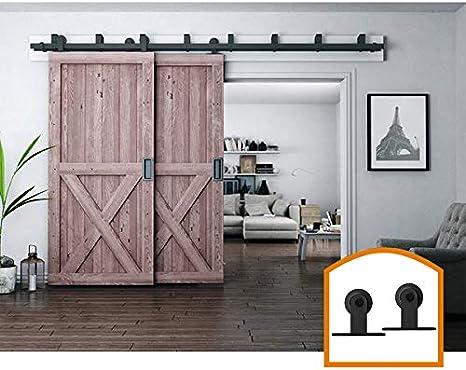ZEKOO New Style 4 FT Bypass Sliding Barn Door Hardware Low Ceiling Steel Flat Track for Double Wooden Doors Closet Kitchen Kit