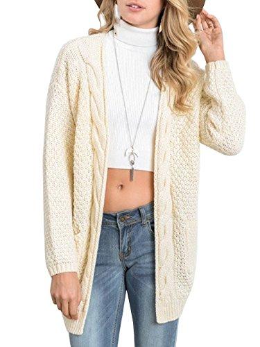 DYLH Women Knit Open White Cardigan Hooded Sweater Coat Jacket Jumper