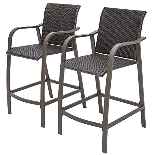 Crestlive Products Counter Height Wicker Bar Stools All Weather Patio Furniture with Heavy Duty Aluminum Frame in Antique Brown Finish for Outdoor Indoor (Stools Modern Bar Wicker)