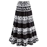 CATALOG CLASSICS Women's Black & White Tiered Eyelet Skirt - Mixed Patterns Maxi - 3X