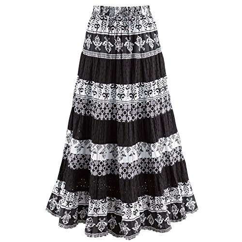 CATALOG CLASSICS Women's Black & White Tiered Eyelet Skirt - Mixed Patterns Maxi - 1X