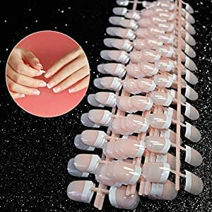 Natural francés Nails, 240 uñas postizas en 12 estilos distintos false nails(Rosa),Uñas Postizas Impress para DIY Manicura, Halloween, Navidad