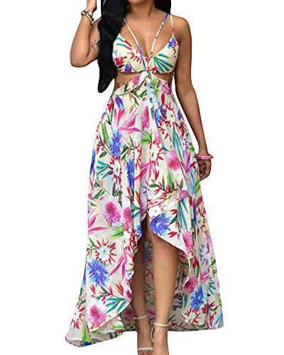 Vestido de Mujeres Bohemia sin Espalda V-Cuello Largo Vestido de la Playa 1