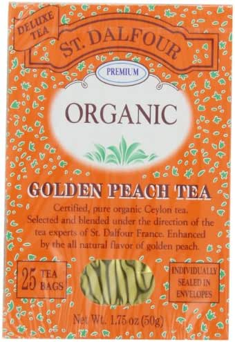 ST. DALFOUR Organic Tea, Golden Peach, 1.75-Ounce Bags, 25-Count Boxes (Pack of 6)