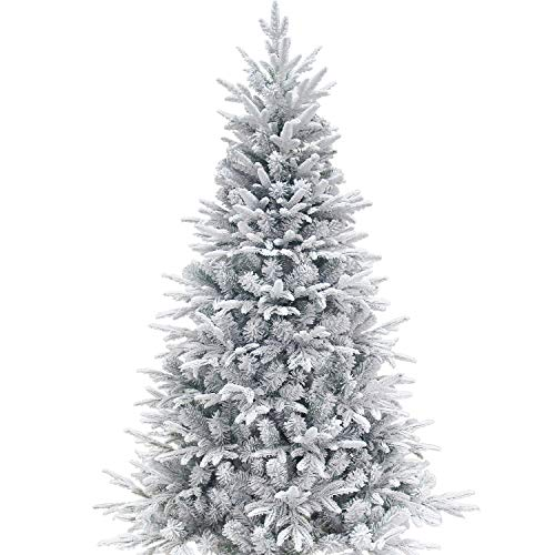 KI Store Artificial Flocked Christmas Tree 7.5ft Hinged Christmas Fir Tree Realistic Xmas Tree Snow Unlit (Christmas Tree Flocked)