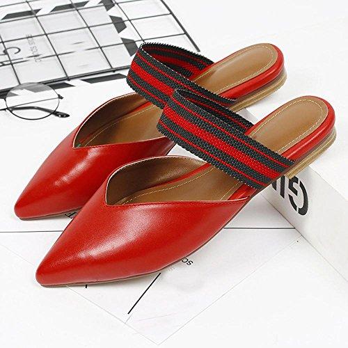 GJDE Zapatos Casuales Sandalias de Verano y Zapatillas Señalaron Mezclados Gruesa con Sandalias Red