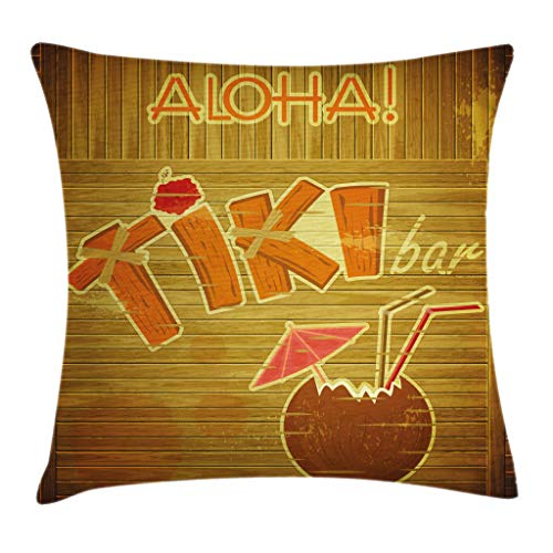 Ambesonne Tiki Bar Decor Throw Pillow Cushion Cover, Wooden Planks Wall with Styled Tiki Bar Text Cocktail Hibiscus Aloha, Decorative Square Accent Pillow Case, 18 X 18 Inches, Brown Orange Pink
