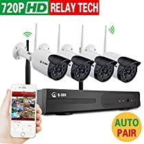 Home Security Camera System 4 Channel NVR Kit with 4PCS 720P 1.0MP HD IP Cameras (auto-match) Outdoor/Indoor WiFi Bullet wireless Cameras surveillance system (NO HDD)