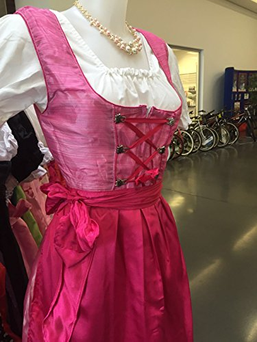 Dirndl Dress Pink, Ethnic 3 Piece Oktoberfest Bavarian Trachten. Austrian, German Folk Outfit - Halloween Costume With Apron and (Bavarian Outfit)