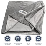 Image of PetFusion Premium Large Dog Blanket (53x41). Reversible Gray Micro Plush. [100% soft polyester]