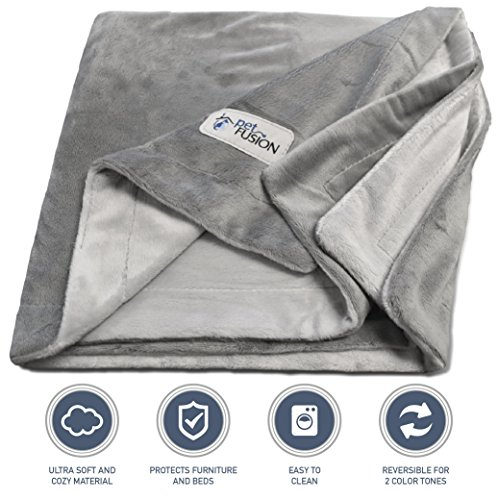 PetFusion Premium X-Large Dog Blanket (60x48). Reversible Gray Micro Plush. [100% soft polyester] by PetFusion