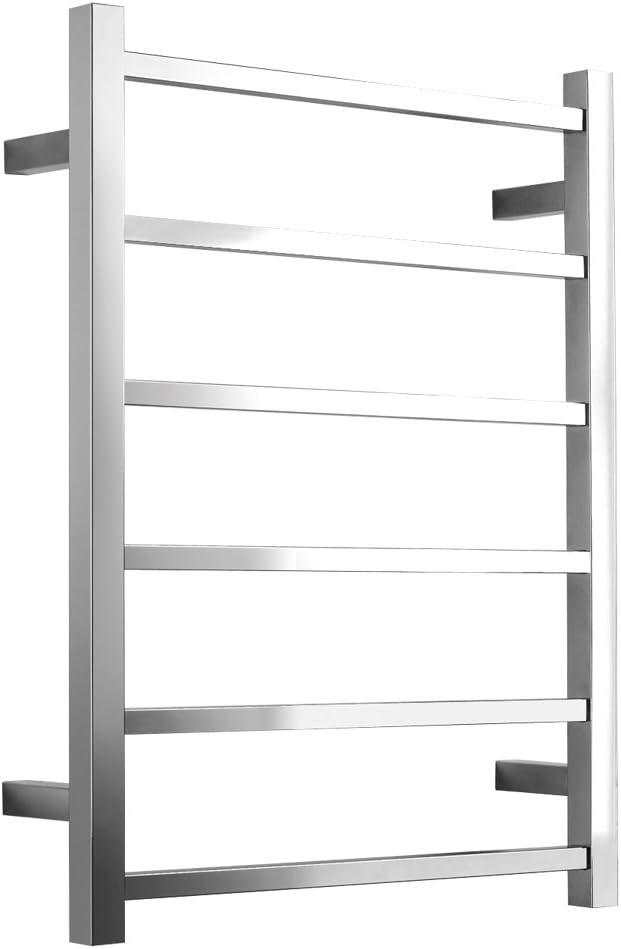 SHARNDY Towel Warmers Heated Towel Rail Square Bars ETW13 Stainless Steel Towel Racks for Bathroom (Polish Chrome) Plug-in