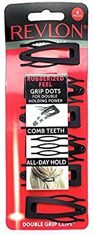 Prendedores de cabelo emborrachados Essentials Revlon com aderência dupla, 6 unidades, preto