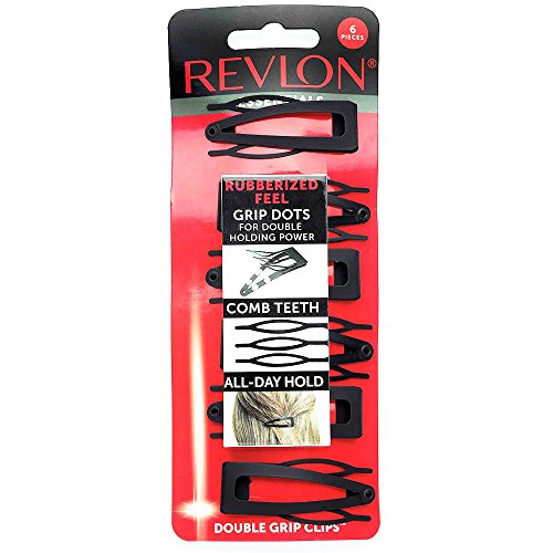 Revlon Rubberized Double Grip Black Hair Clips, 6 count