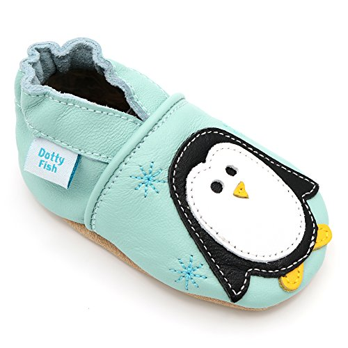 Dotty Fish Soft Leather Baby Shoes with Non Slip Suede Soles. Toddler Shoes. Mint Shoe with Cute Penguin Design. Boys and Girls. 0-6 Months ()