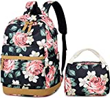 Teen Girls School Backpack Waterproof Floral Backpack for Women, Lightweight Campus Book-Bag Casual Travel Fashion Backpack 2 Packs