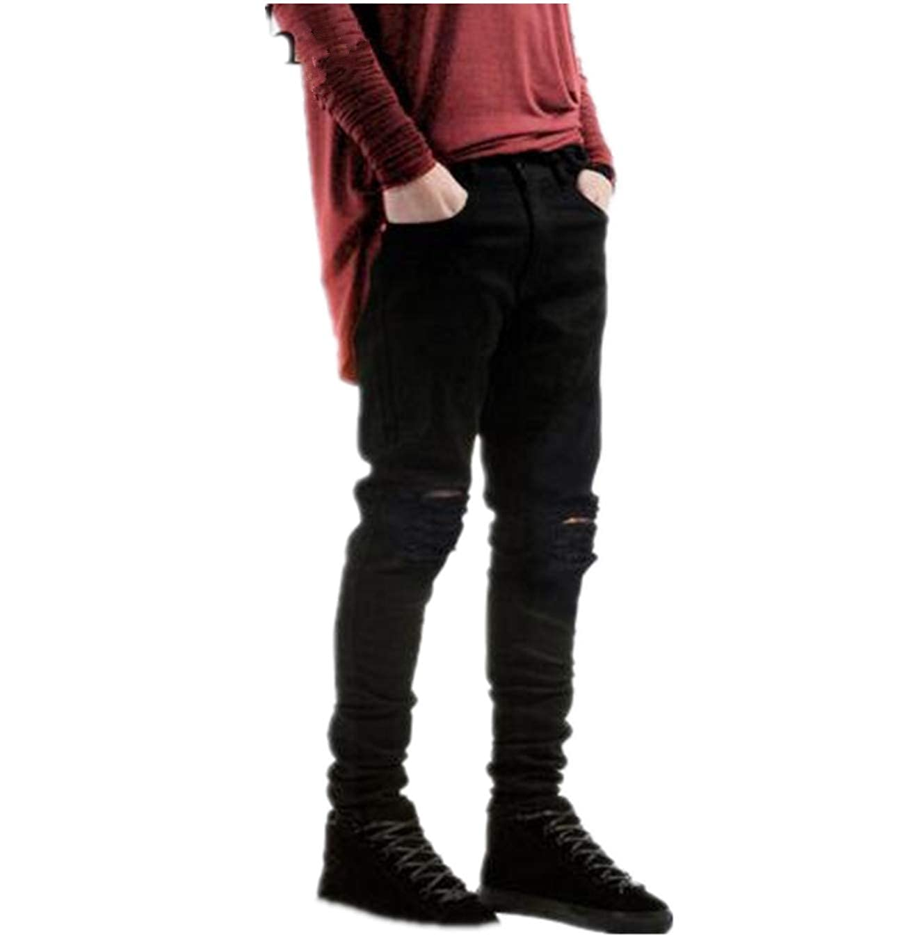 IA ROD CA Boys Slim Fit Skinny Ripped Distressed Black Jeans Pants with Holes