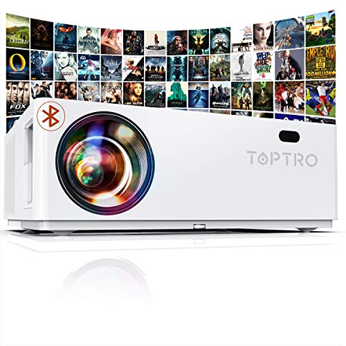 "TOPTRO Bluetooth Projector,Native 1080P and 350"" Display,7200 Lux Video Projector,Support 4K,Zoom&±50°4D Keystone Correction,Home Theater Projector Compatible with Phone/TV Stick/PC/USB/PS4/DVD"