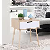 Topeakmart Walnut Bedside Table Solid Wood Legs Nightstand with White Storage Drawer