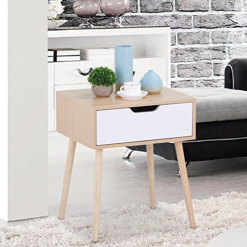 Topeakmart Walnut Bedside Table Solid Wood Legs Nightstand with White Storage Drawer - Maple Modern Coffee Table