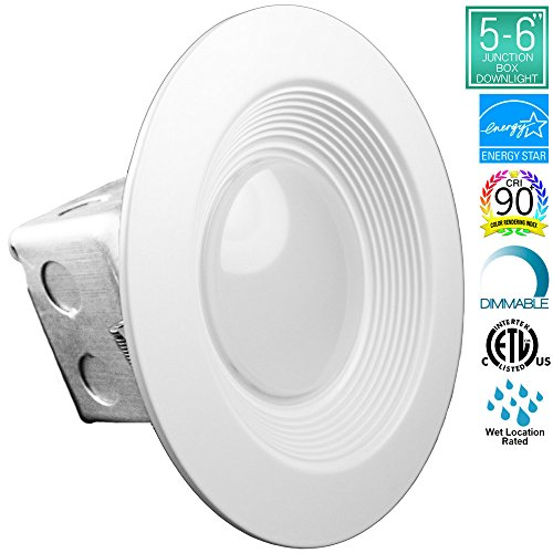 Luxrite 15W 5/6 Inch Junction Box LED Downlight, 5000K Bright White, 100W Equivalent, CRI90+, ENERGY STAR, 120V-277V, Dimmable, Wet Location, 1100 Lumen, Retrofit LED Recessed Lighting Fixture, 1-Pack