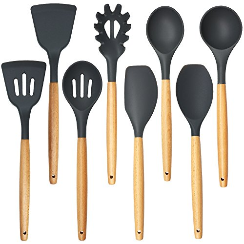 Shxmlf Premium Silicone Cooking Utensils Set -8 Piece Silicone Head Wood Handle Kitchen Baking Tools, Eco-friendly, BPA free, Non-stick (Silicone Wood Spatula)