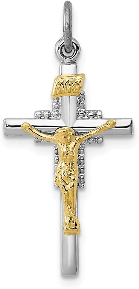 925 Sterling Silver Solid Polished Crucifix Pendant