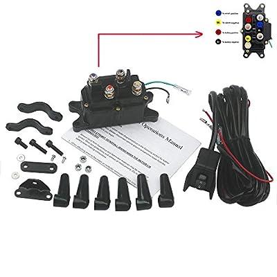 KIPA Winch Solenoid Relay 12V 250A & Winch Rocker Thumb switch Assy For ATV UTV Polaris 800 1000 SUV Jeep Trailer Hydraulic Pump Lift Jack 1500lb-5000lb winch With mounting Brackets Terminal Caps
