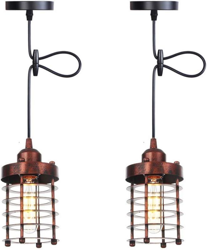 Pantalla de alambre de metal jaula de grillos, Negro Estilo retro del metal cesta de jaulas for la luz pendiente, persiana cilíndricos rústica de la jaula de lámpara de la lámpara industrial de la ven