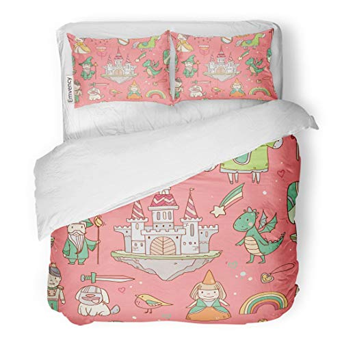 Fairy Princess Garden Twin Quilt - Tarolo Bedding Duvet Cover Set Blue Fantasy Magic Cute Baby for Girls Fairy Castle Dragon Colorful Rainbow Princess and Characters Prince 3 Piece Twin 68