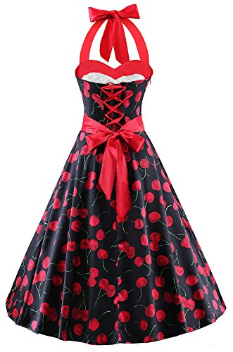 VOGTAGE Women's 1950s Polka Dots Vintage Audrey Dress Halter Retro Cocktail Rockabilly Prom (Cherry Halter Dress)