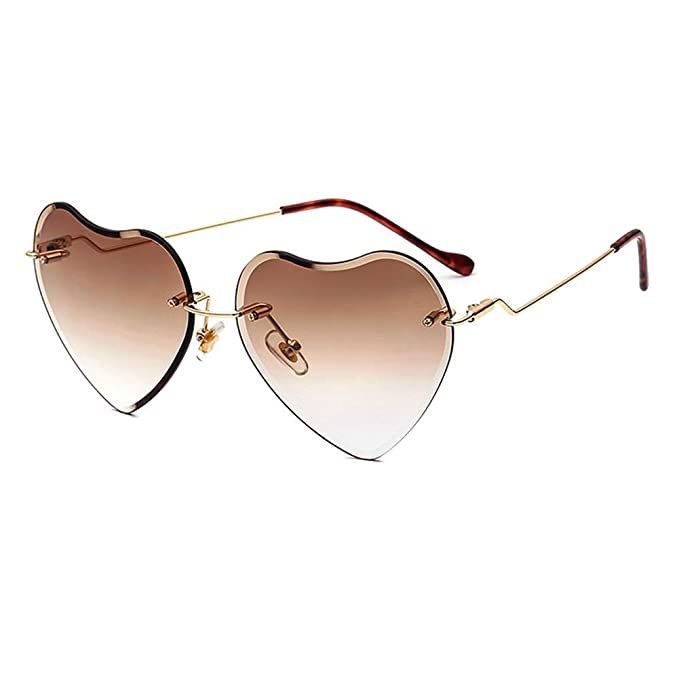 ee0cbdb294 Heart Sunglasses for women Rimless Thin Metal Frame Heart shaped Sun glasses  UV400 Brown
