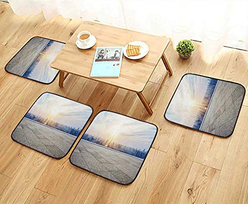 - UHOO2018 Universal Chair Cushions Panoramic Skyline and Builds with Empty Concrete Square Floor Personalized Durable W15.5 x L15.5/4PCS Set