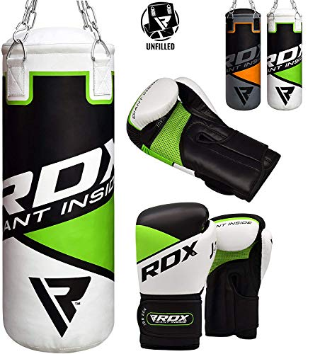 RDX Kids Punch Bag UNFILLED Set Junior Kick Boxing 2FT Heavy MMA Training Youth Gloves Punching Mitts Muay Thai Martial Arts (Best Punching Bag For Youth)