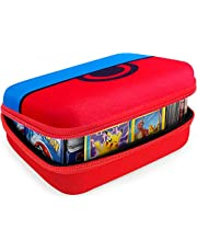 COMECASE Hard Carrying Case for Pokemon Trading Cards, Card Game Holder Storage Holds Up to 400 Cards. Removable Divider and Hand Strap Offered (Red)