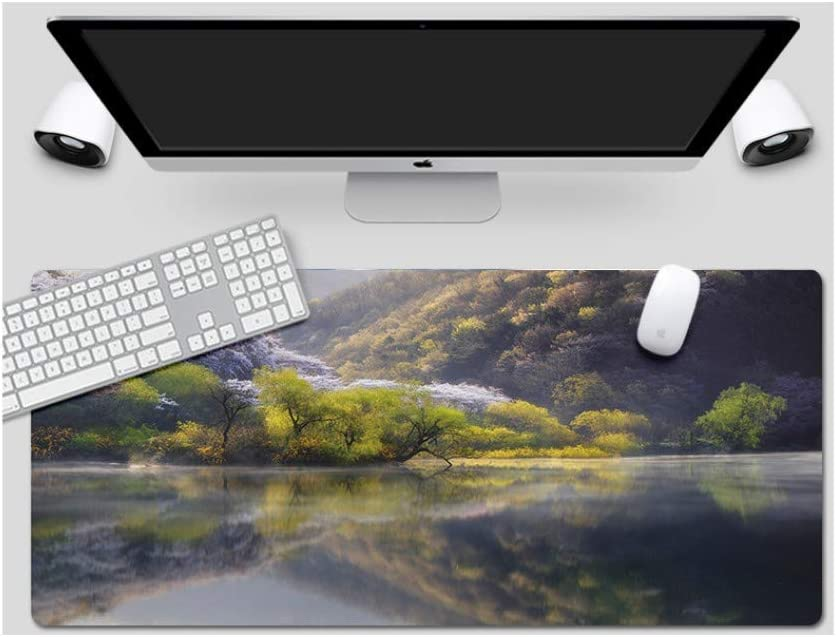 Suitable for Desktop Computer//Notebook,1200x600mmx4mm Mouse Pad Large Padded Waterproof Non-Slip Keyboard Pad Bailins Lake Style Office Desk Pad