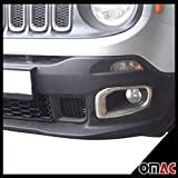 OMAC USA Jeep Renegade S. Steel Chrome Front Fog Headlight Surround Lamp Bezel Trim Set