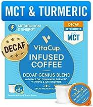 VitaCup Decaf Genius Coffee Pods | Energy & Focus | Keto | MCT, Turmeric & Cinnamon | Vitamins B1, B5, B6, B9, B12, D3 | Com
