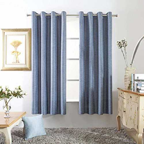 Mayding Home Thermal Insulated Grommet Blackout Curtains for Bedroom (50X84inch, Denim) (Denim Curtain)